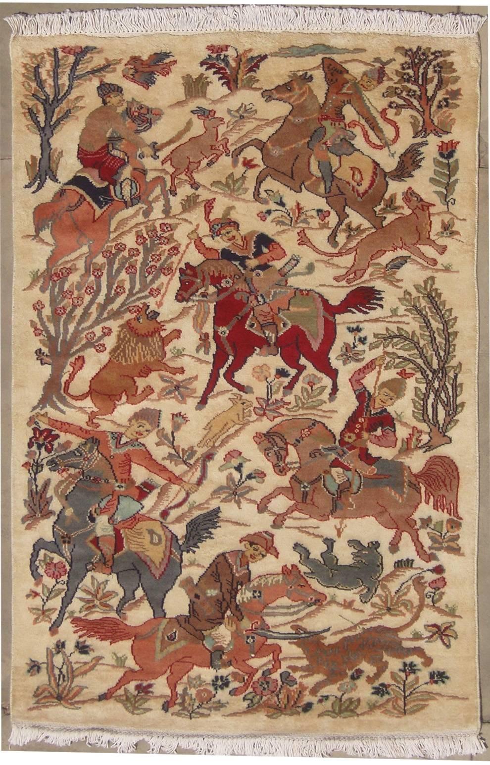 3 2x5 1 Rug Pak Persian Hunting Shakargha Six Horses