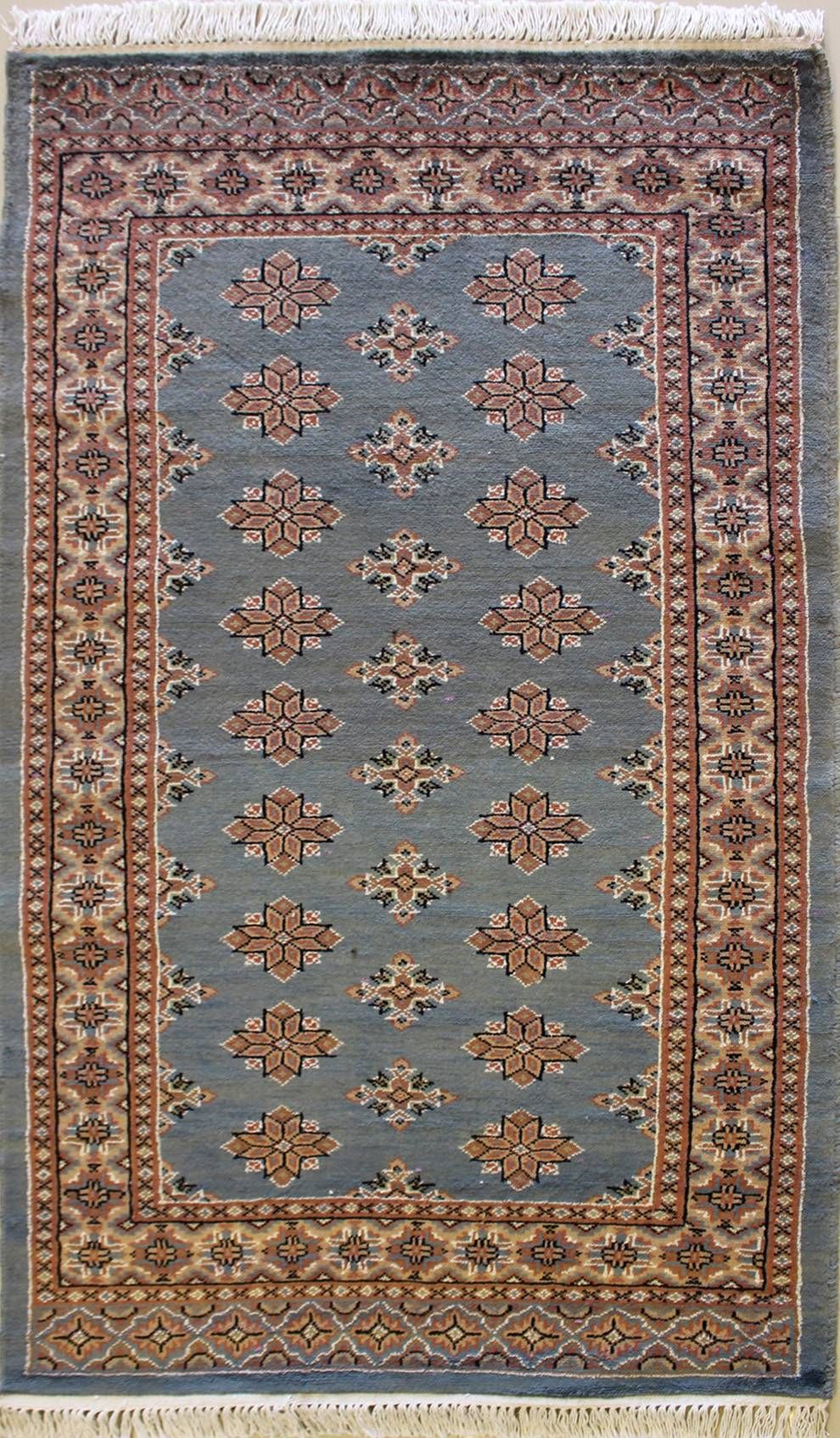 "2'11""x5'2"" Pak Jaldar Gray, Sky Blue Color"