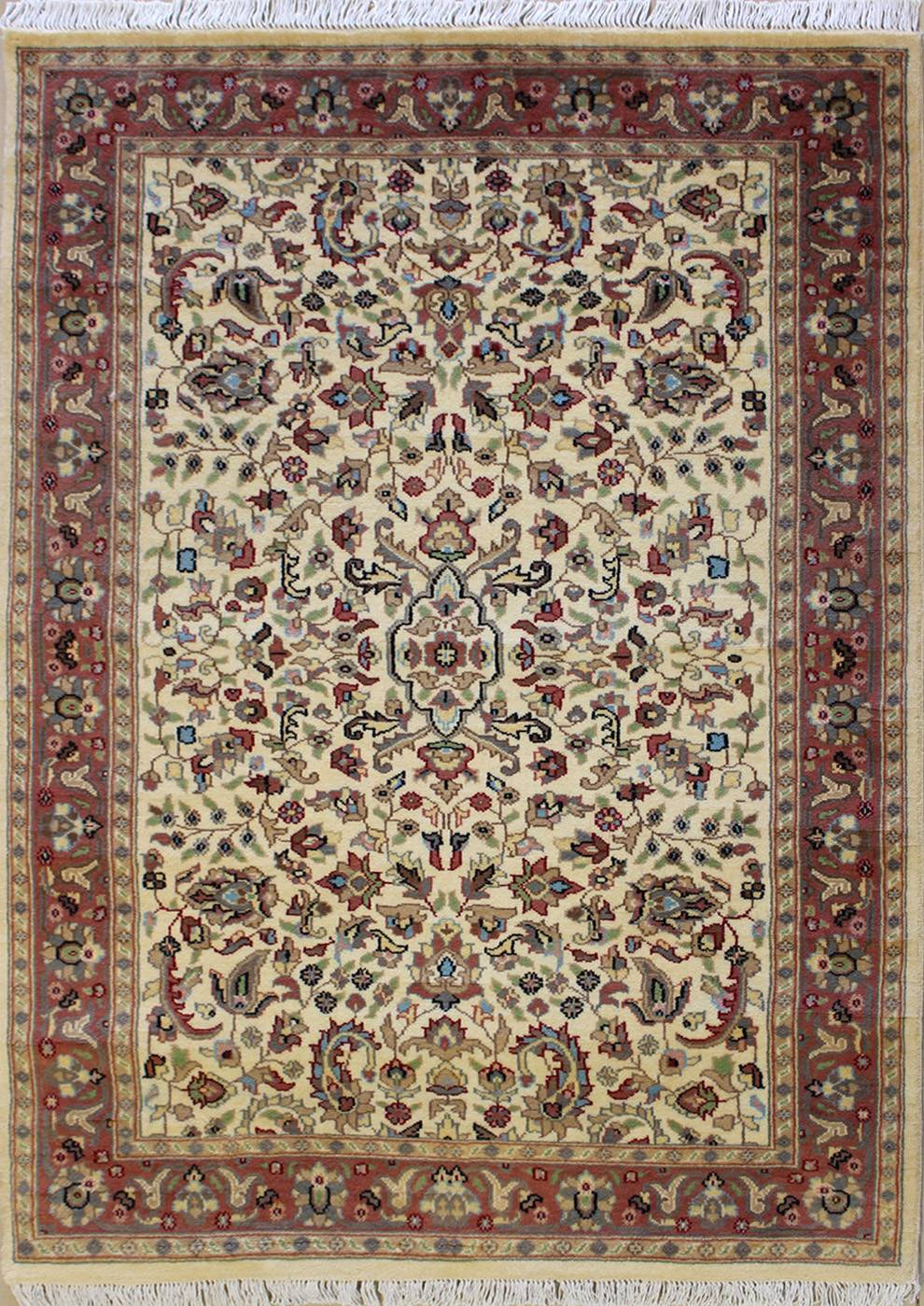 "4'1""x6'1"" Pak Persian Design Ivory, White Color"