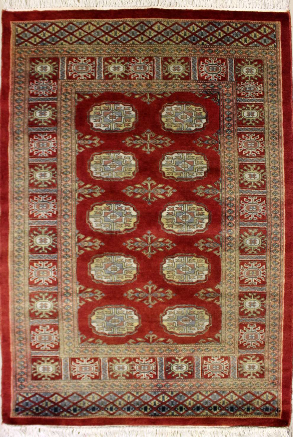 "3'1""x4'11"" Pak Bokhara Rust Color Old Rug"