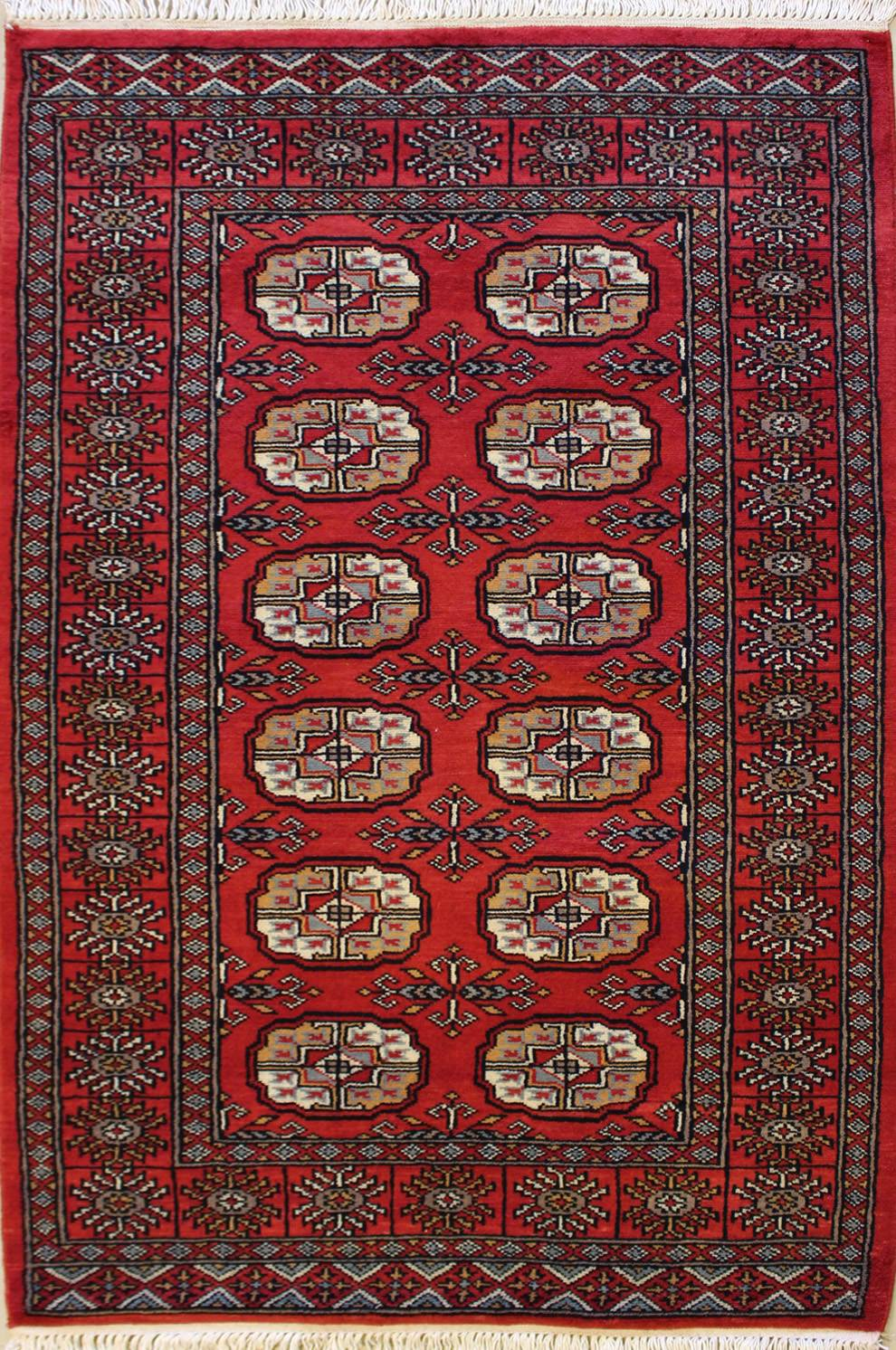 "3'1""x5'2"" Special Mori Bokhara Red, Rust Color"
